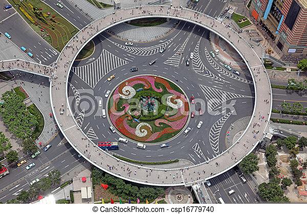 上海, 看法, 空中, 瓷器, 十字路口 - csp16779740
