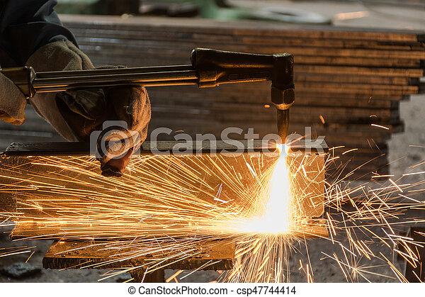 乙炔, 工人, 火炬, 金屬, 切, 銲接 - csp47744414