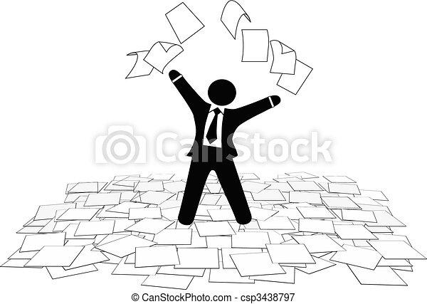 事務, 地板, 頁, 工作, 空氣, 紙, 投擲, 人 - csp3438797