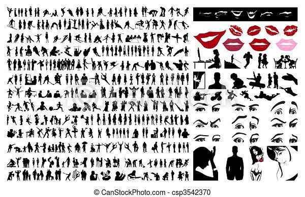 人們。, 矢量, 黑色半面畫像, 插圖, 360 - csp3542370