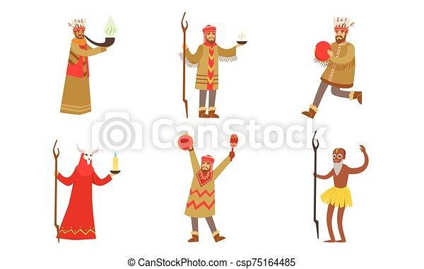 人, illustration., 衣服, shamans., 矢量 - csp75164485