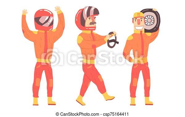 人, suits., 矢量, 橙, 騎手, 插圖 - csp75164411
