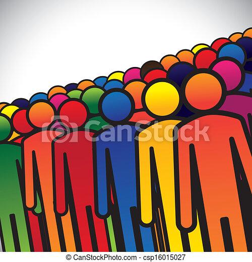 代表, 圖表, 概念, 組, 學生, 鮮艷, 人們, 形成, 摘要, 圖象, -, 工人, 或者, 幼儿園, 也, 顏色, 孩子, 各種各樣, vector., 雇員, 孩子 - csp16015027