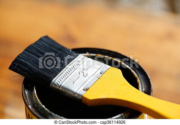 保護, 休息, 刷子, 罐頭, 錫, 畫 - csp36114926