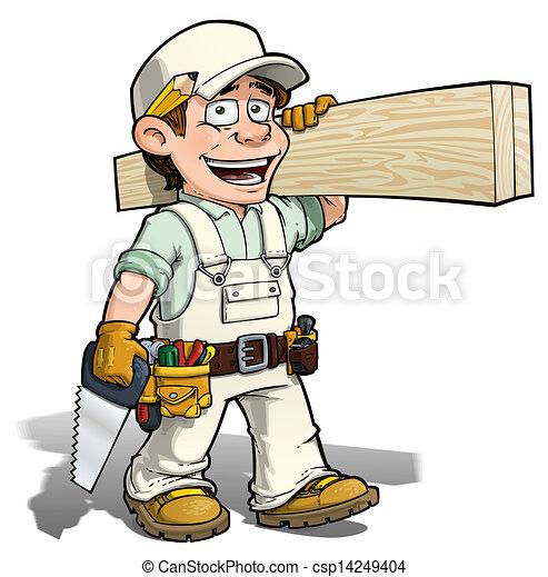 做零活的人, 白色, -, 木匠 - csp14249404