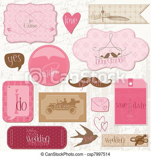 元素, 浪漫, 記號, 邀請, -for, 矢量, 設計, 婚禮, 剪貼簿 - csp7997514