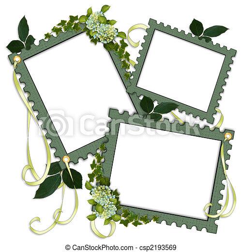 剪貼簿, 頁, 邊框, 植物, 薄 - csp2193569
