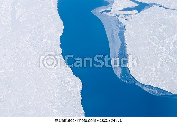 北極, 北方, 變暖和, 冰, 打開, 桿, 全球, 海洋水 - csp5724370