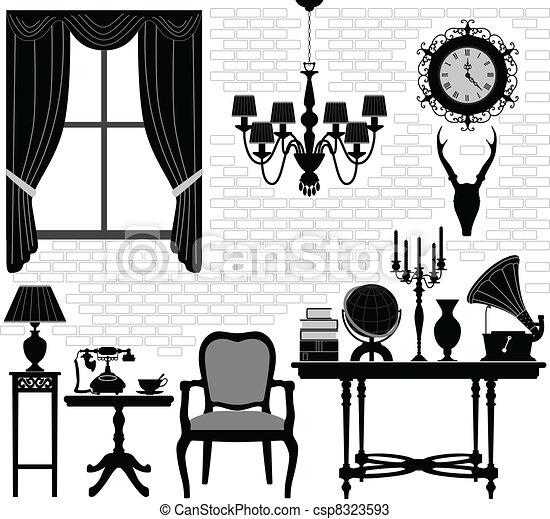 古董老, 房間, 大廳, 家具 - csp8323593