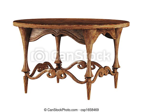 古董, 圓桌, 3d - csp1658469