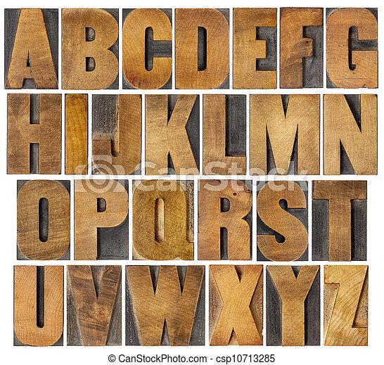 古董, 字母表, 集合, 類型, 木頭 - csp10713285