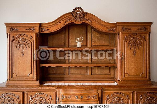 古董, 抽屜, 胸膛, 書架, 家具 - csp16707408