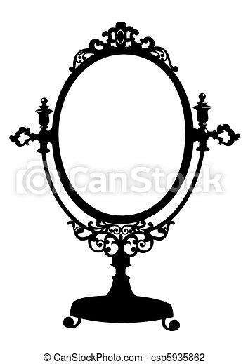 古董, 构成, 黑色半面畫像, 鏡子 - csp5935862
