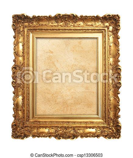 古董, 框架, 老, 金 - csp13306503