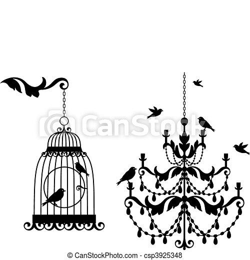 古董, birdcage, 枝形吊燈 - csp3925348