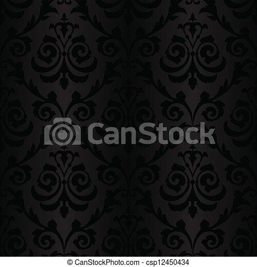 圖案, 絲綢, 黑色, seamless, 牆紙 - csp12450434
