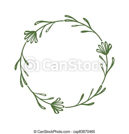 圖畫, 植物, style., 花, 時髦, 邊框, 花冠, 外形, 離開, twigs., 祝賀, 花, scrapbooking, frame., 裝飾, 簡單, circle., 輪, 漂亮, 最簡單派藝術家 - csp83870465