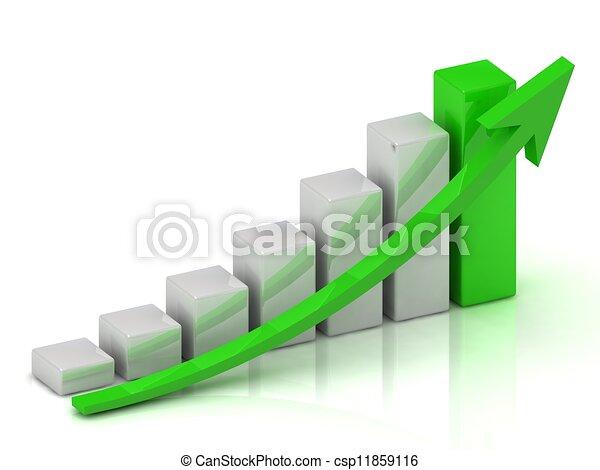 圖表, 事務, 酒吧, 成長, 綠色, 箭 - csp11859116