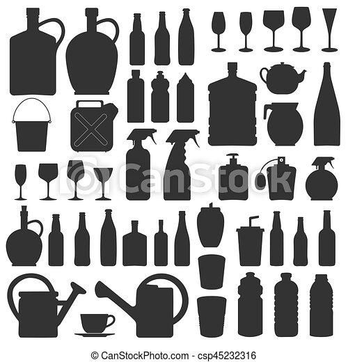 圖象, 玻璃, 黑色半面畫像, 矢量, 飲料, 瓶子 - csp45232316