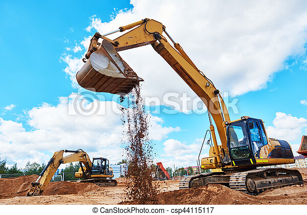 在期間, 工作, sandpit, 挖掘機, earthmoving - csp44115117