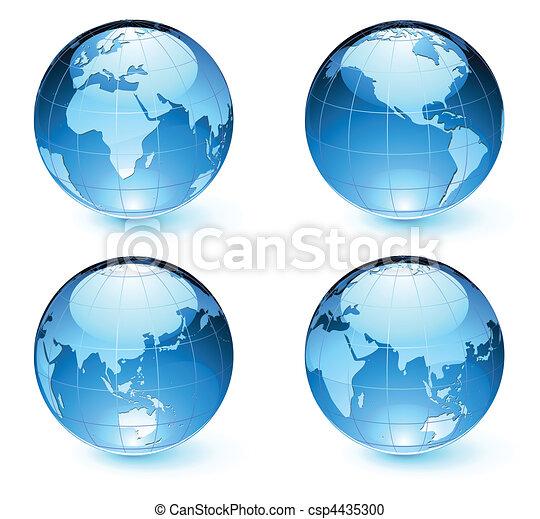 地圖, 地球, 球体, 有光澤 - csp4435300