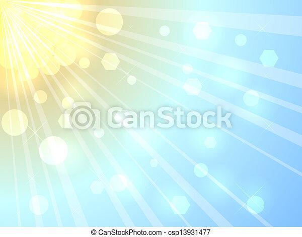 夏天, 明亮, 陽光, 背景 - csp13931477