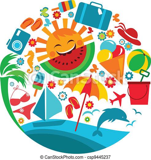 夏天, vacation;, 樣板, 圖象 - csp9445237