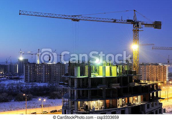 夜晚, 起重機, 建築工地, loader - csp3333659