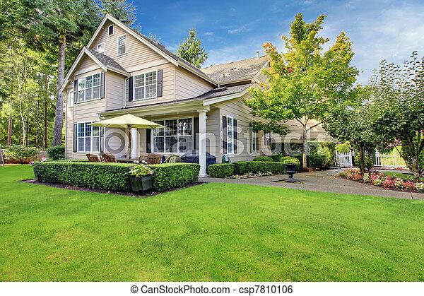 大, 房子, 草, 綠色, 原色嗶嘰 - csp7810106