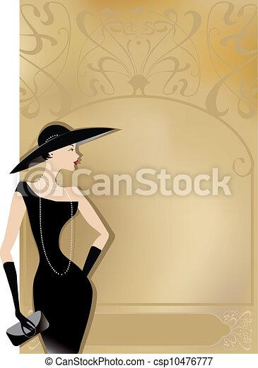 夫人, 海報, 黑色, retro - csp10476777