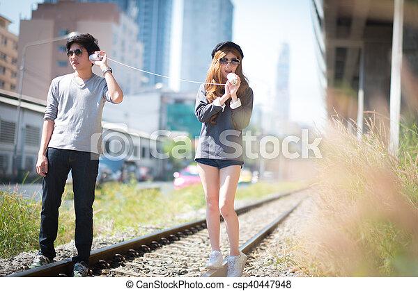 夫婦, 電話, 玩具, 通訊 - csp40447948