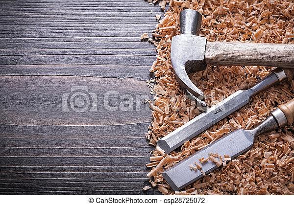 套間, 木制, 葡萄酒, 鑿子, 刨, 爪, 蟒蛇, 木頭, 錘子 - csp28725072