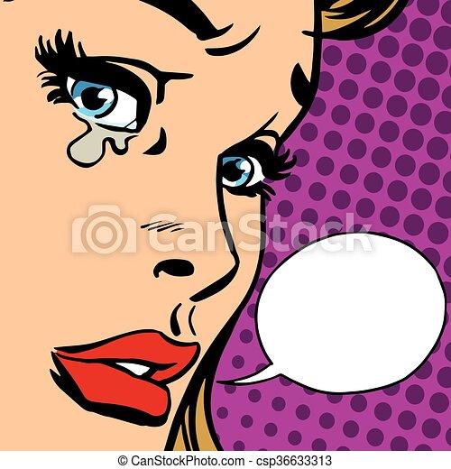女孩, 特寫鏡頭, 哭泣, 臉 - csp36633313
