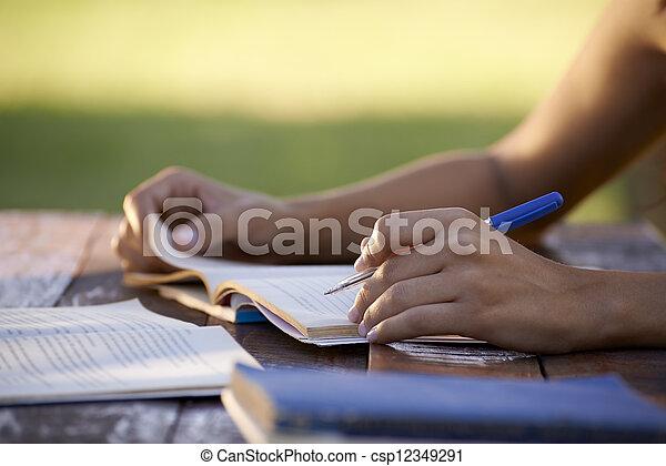 婦女, 人們, 學習, 大學, 年輕, 教育, 測試 - csp12349291