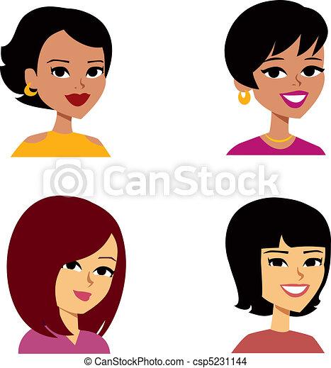 婦女, 卡通, avatar, 多少數民族成員 - csp5231144