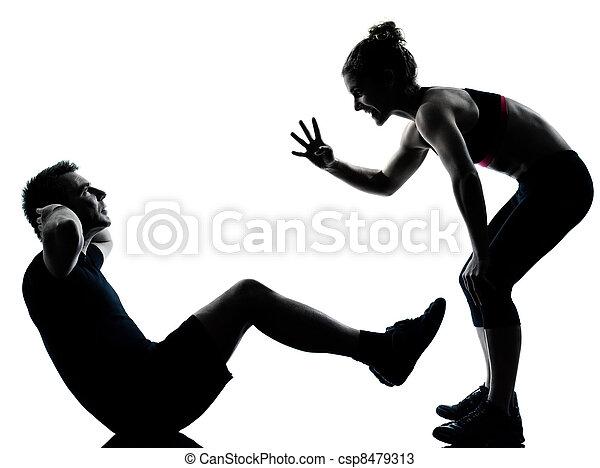婦女, 夫婦, 行使, 一, 健身, 測驗, 人 - csp8479313
