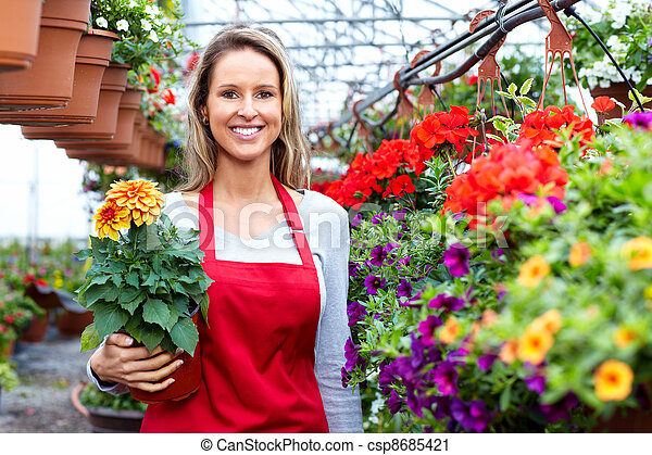 婦女, 花, 工作, 賣花人, shop. - csp8685421
