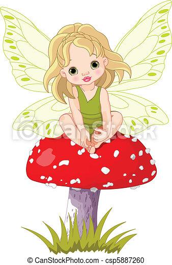 嬰孩, 仙女, 蘑菇 - csp5887260
