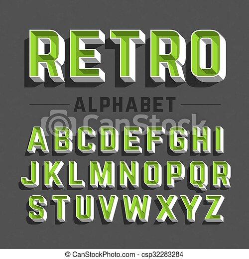 字母表, retro風格 - csp32283284