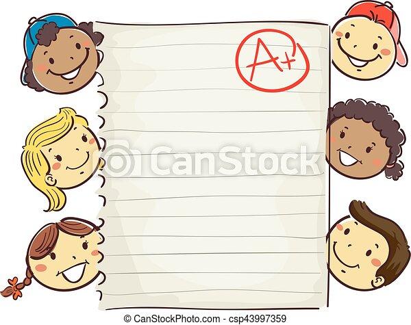 孩子, 大約, 等級, 顯示, 紙, 加上, 棍 - csp43997359