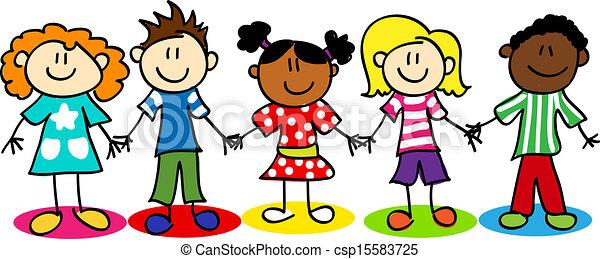 孩子, 差异, 棍數字, 种族 - csp15583725