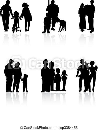 家庭, colour., 插圖, 黑色半面畫像, 矢量, 黑色 - csp3384455