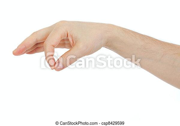 對象, 一些, 被隔离, 手, 事情, 藏品, 白色的男性 - csp8429599