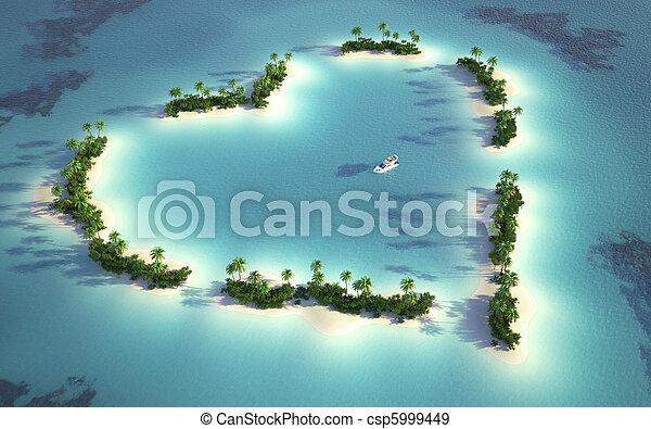 島, 看法, 空中, 心形 - csp5999449