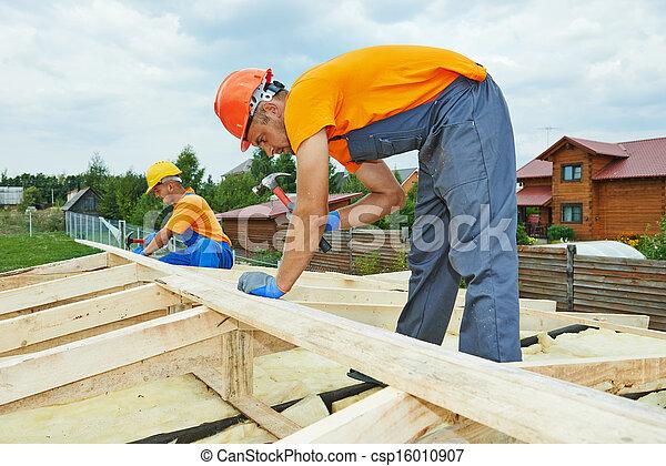 工人, 木匠, 屋頂 - csp16010907