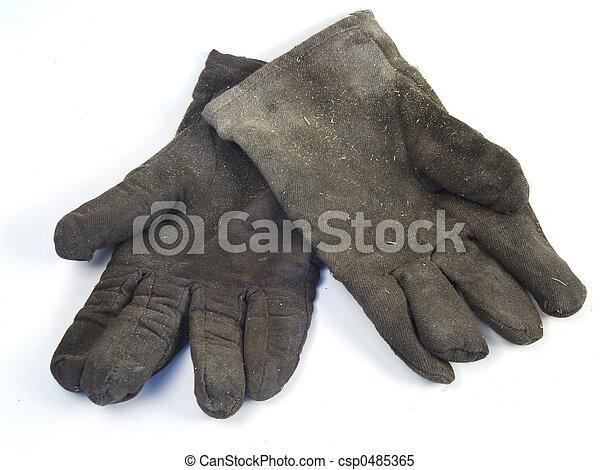 工作手套, 骯髒 - csp0485365