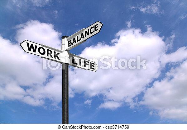 工作, 路標, 生活, 平衡 - csp3714759
