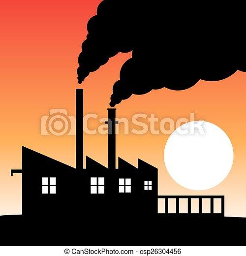 工廠, 污染, 黑色半面畫像, 空氣 - csp26304456