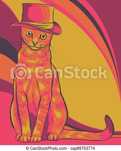 帽子, 貓, 插圖, 矢量 - csp89753774