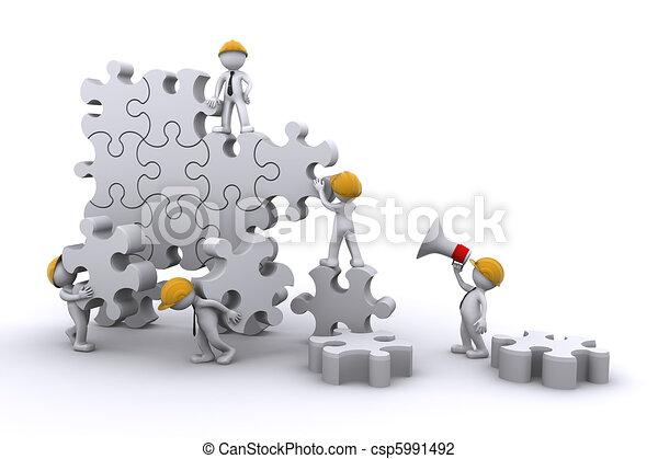 建築物, 事務, 發展, concept., 工作, puzzle., 隊 - csp5991492